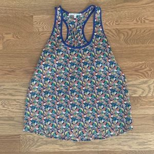 Green and blue Patterned tank with blue trim